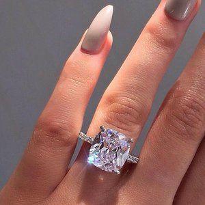 Cushion Cut White Sapphire .925 Silver Ring